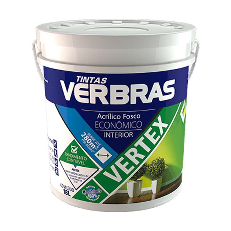 Tinta Verbras Vertex Acrílico Fosco Branco Neve Balde Plástico 18 Litros