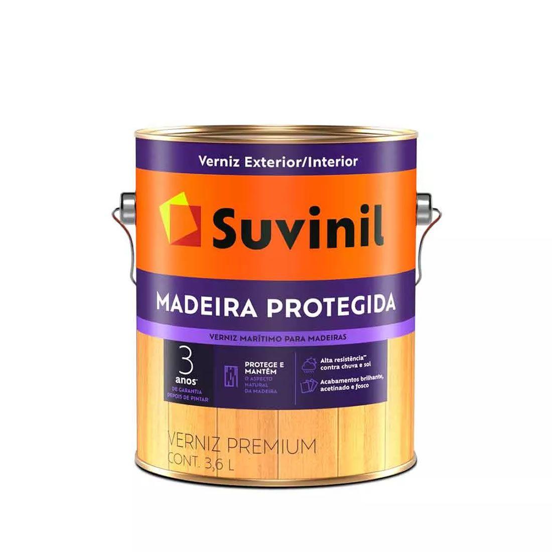 Verniz Suvinil Madeira Protegida Fosco Natural 3,6 Litros