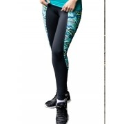 CALÇA FUSÔ BE FIT FEMININA JUST FIT - PRETO/FLY VERDE