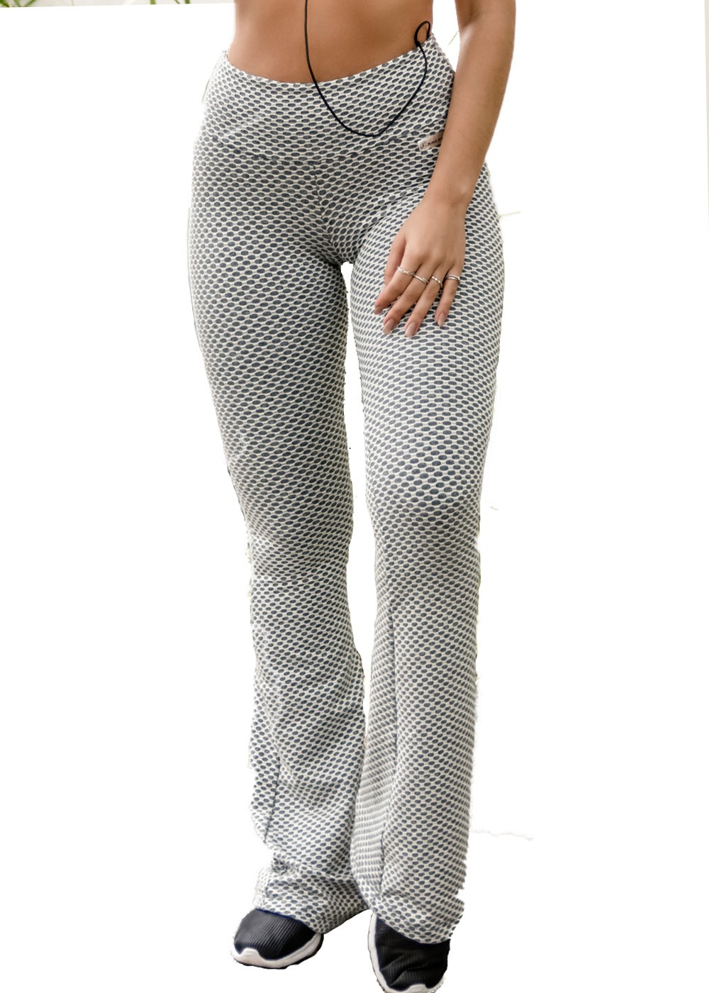 CALÇA LEGGING FLARE STAMP JUST FIT - GEO CINZA