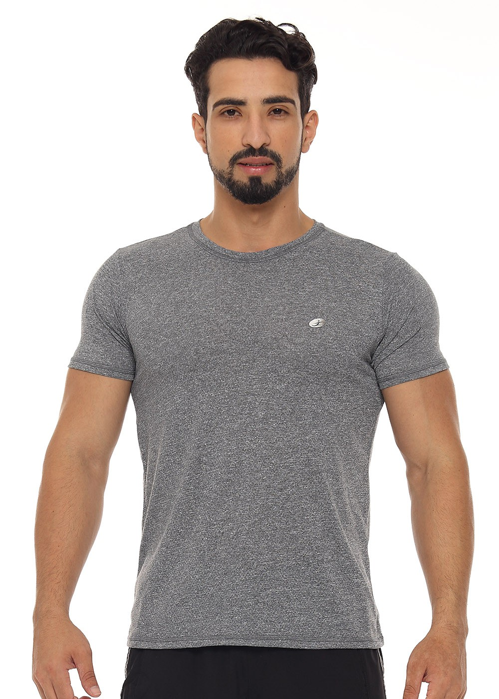 CAMISETA UNISSEX COM DETALHE JUST FIT - MESCLA