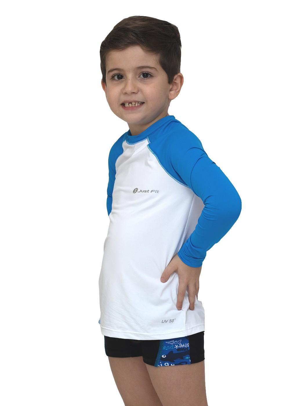 CAMISETA UV PROTECTION INFANTIL MANGA LONGA RAGLAN - BRANCO/AZUL