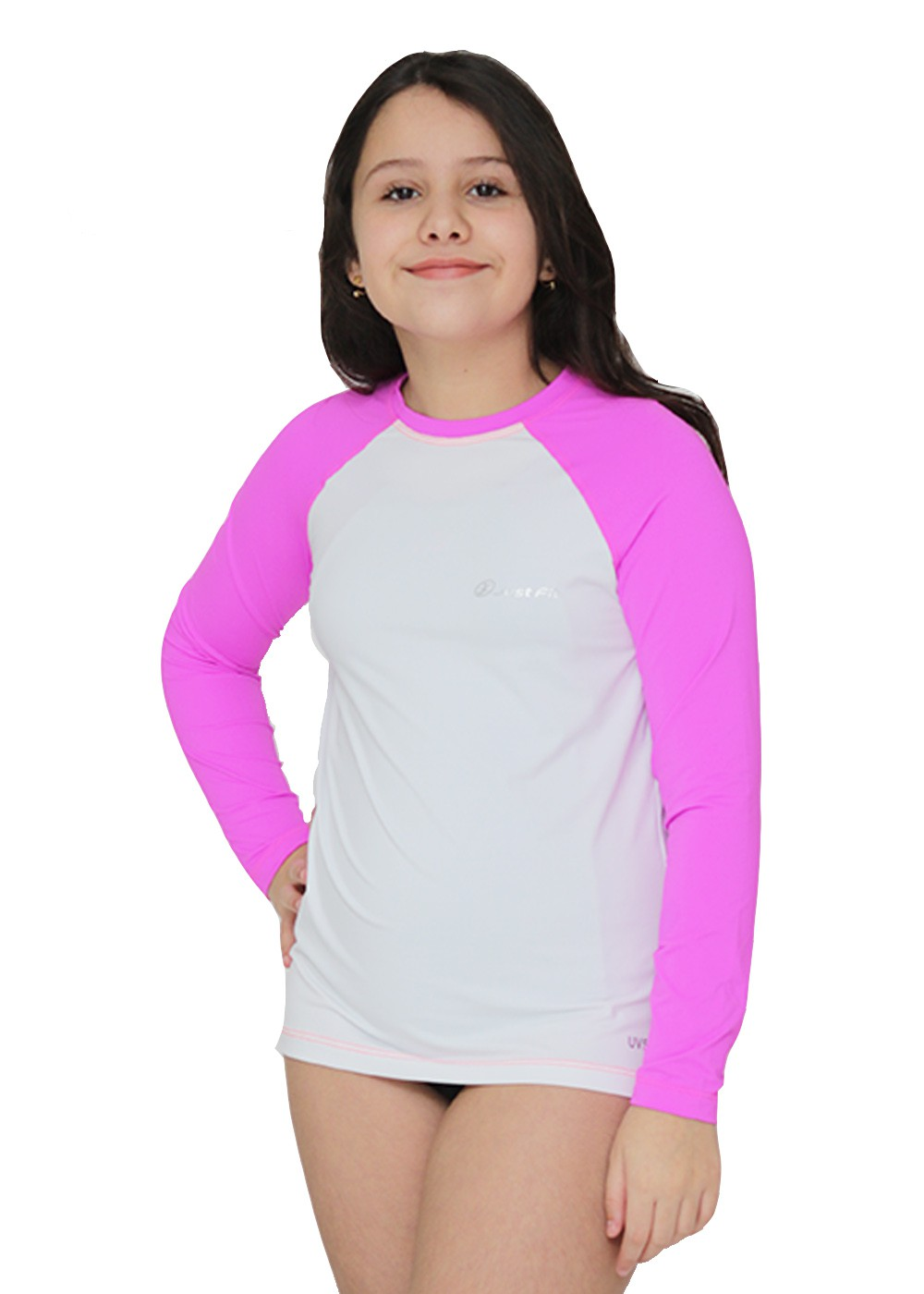 CAMISETA UV PROTECTION INFANTIL MANGA LONGA RAGLAN - BRANCO/PINK