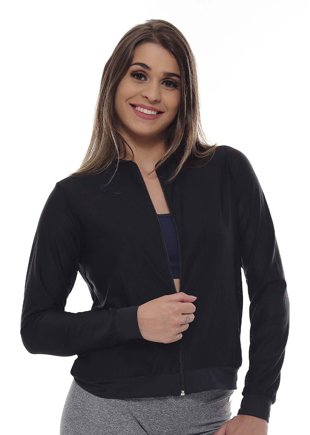 JAQUETA FASHION FEMININA JUST FIT - PRETO TELA