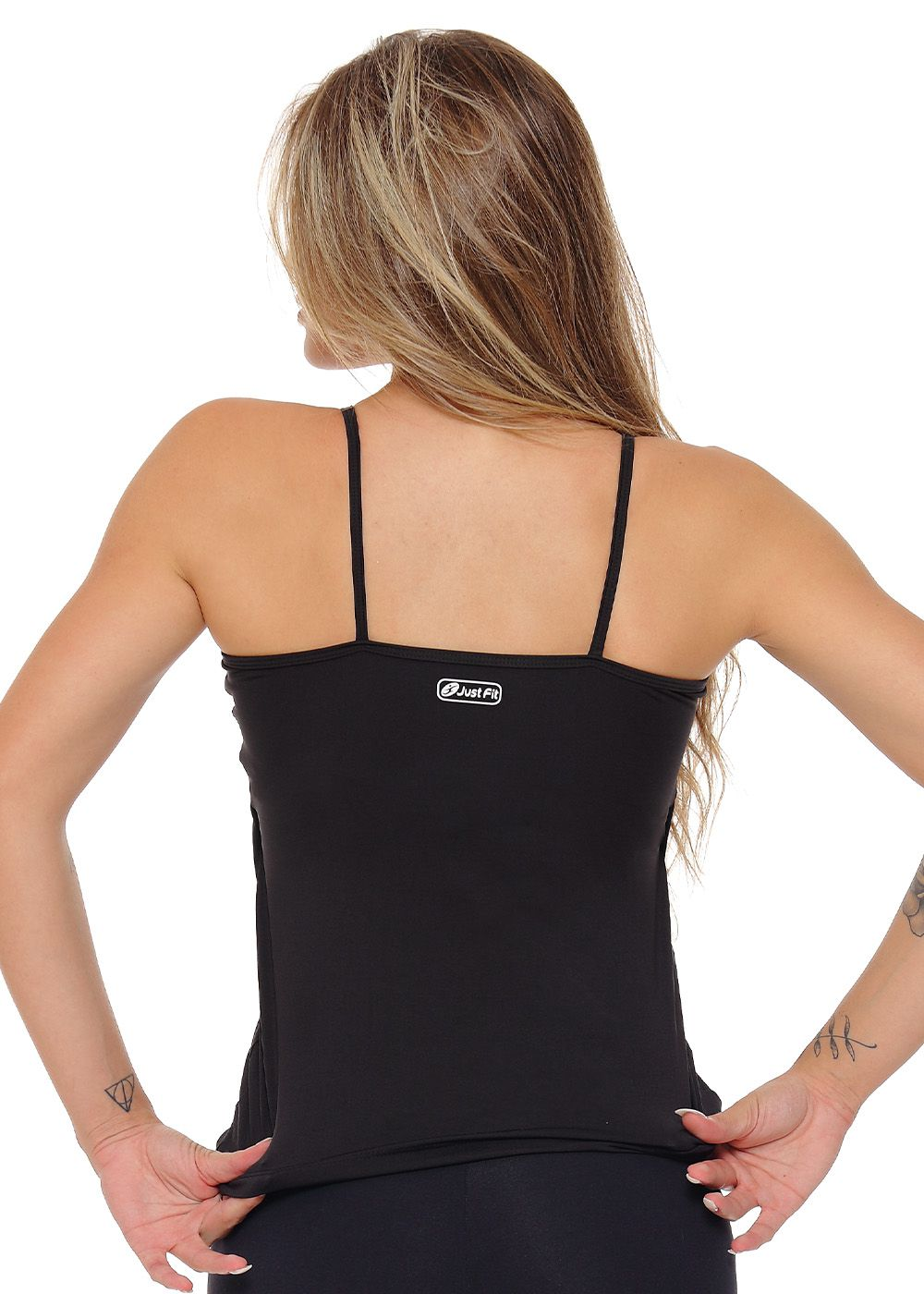 REGATA ALCINHA COM BOJO  JUST FIT - PRETO