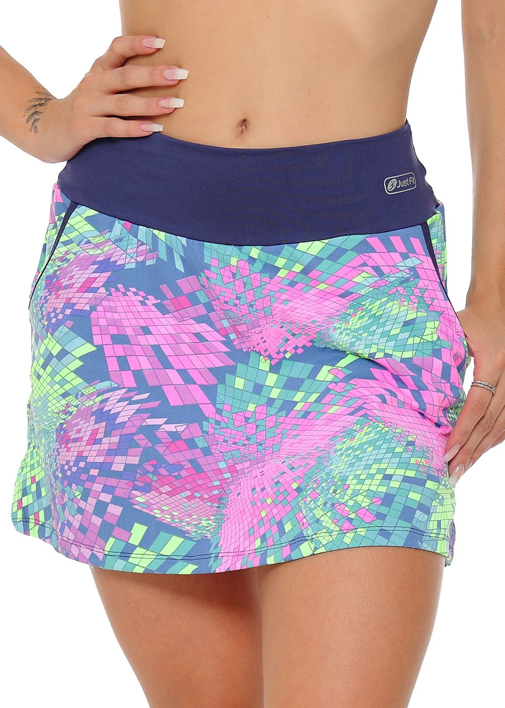 SHORTS SAIA FIT UP JUS FIT - MARINHO/MOSAICO