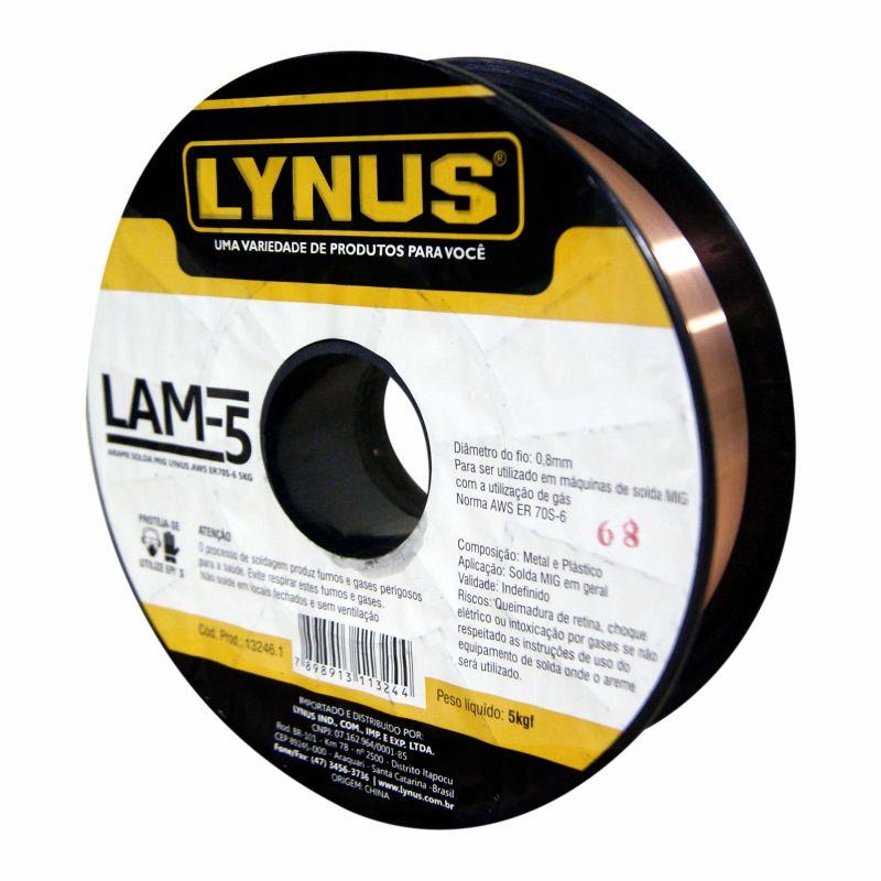 Arame para Máquina de Solda MIG 0.8mm 5Kg Uso com Gás - Lynus LAM-5
