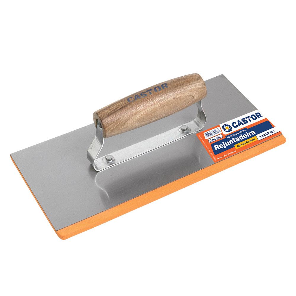 Desempenadeira aço 12x27cm com borracha - Castor