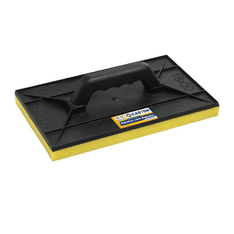 Desempenadeira plástica 18x30cm Preta Com espuma - Castor