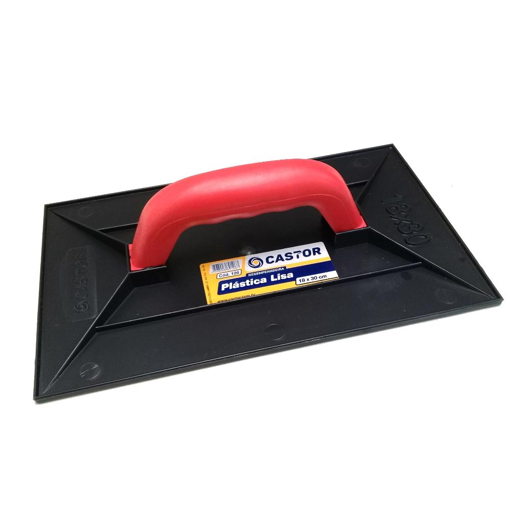 Desempenadeira plástica preta PVC 18x30cm Lisa - Castor