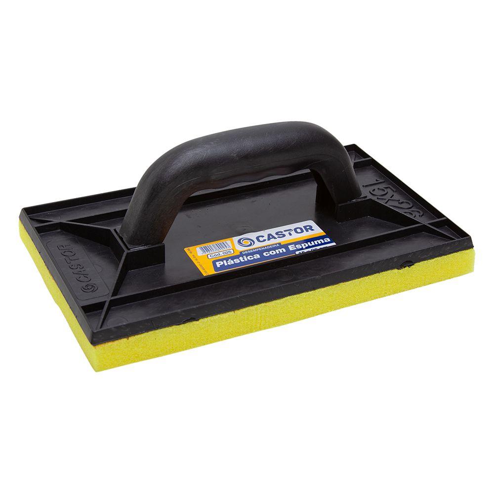 Desempenadeira plástica PVC 15x26cm com espuma - Castor