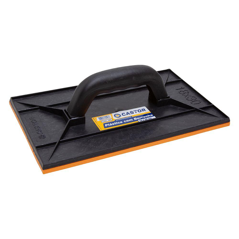 Desempenadeira plástica PVC 18x30cm com borracha - Castor