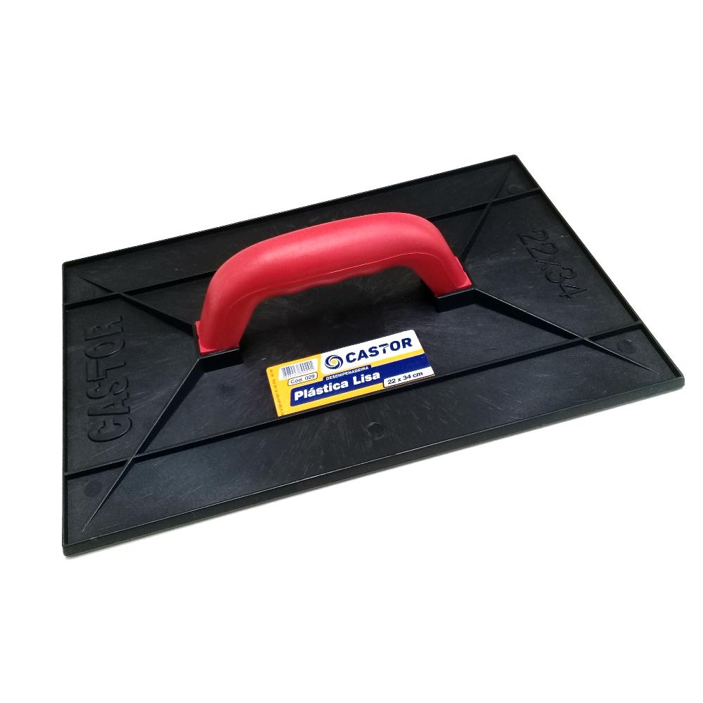 Desempenadeira plástica PVC 22x34cm Lisa Preta - Castor