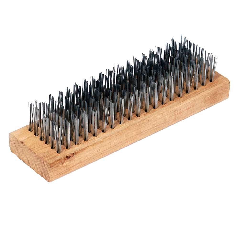 Escova de aço 6 fileiras base madeira - Castor