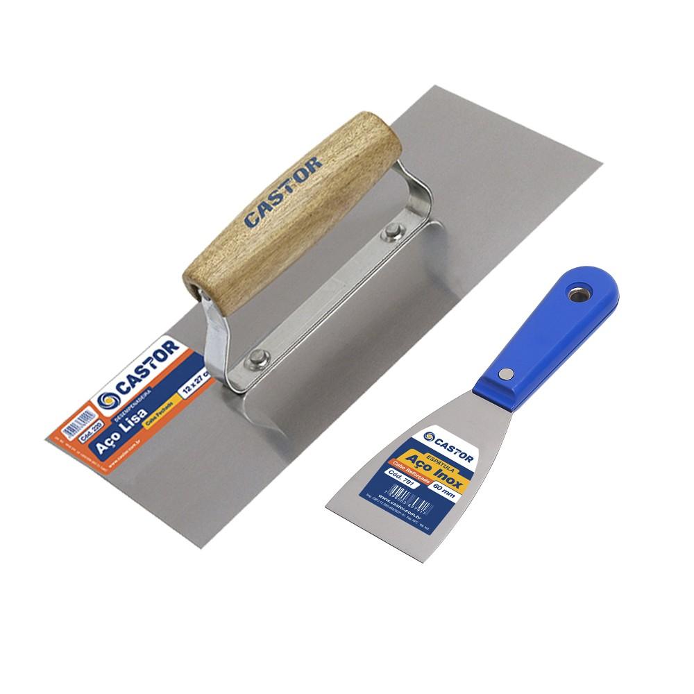 Kit Desempenadeira de Aço e Espátula de Aço Inox - Castor