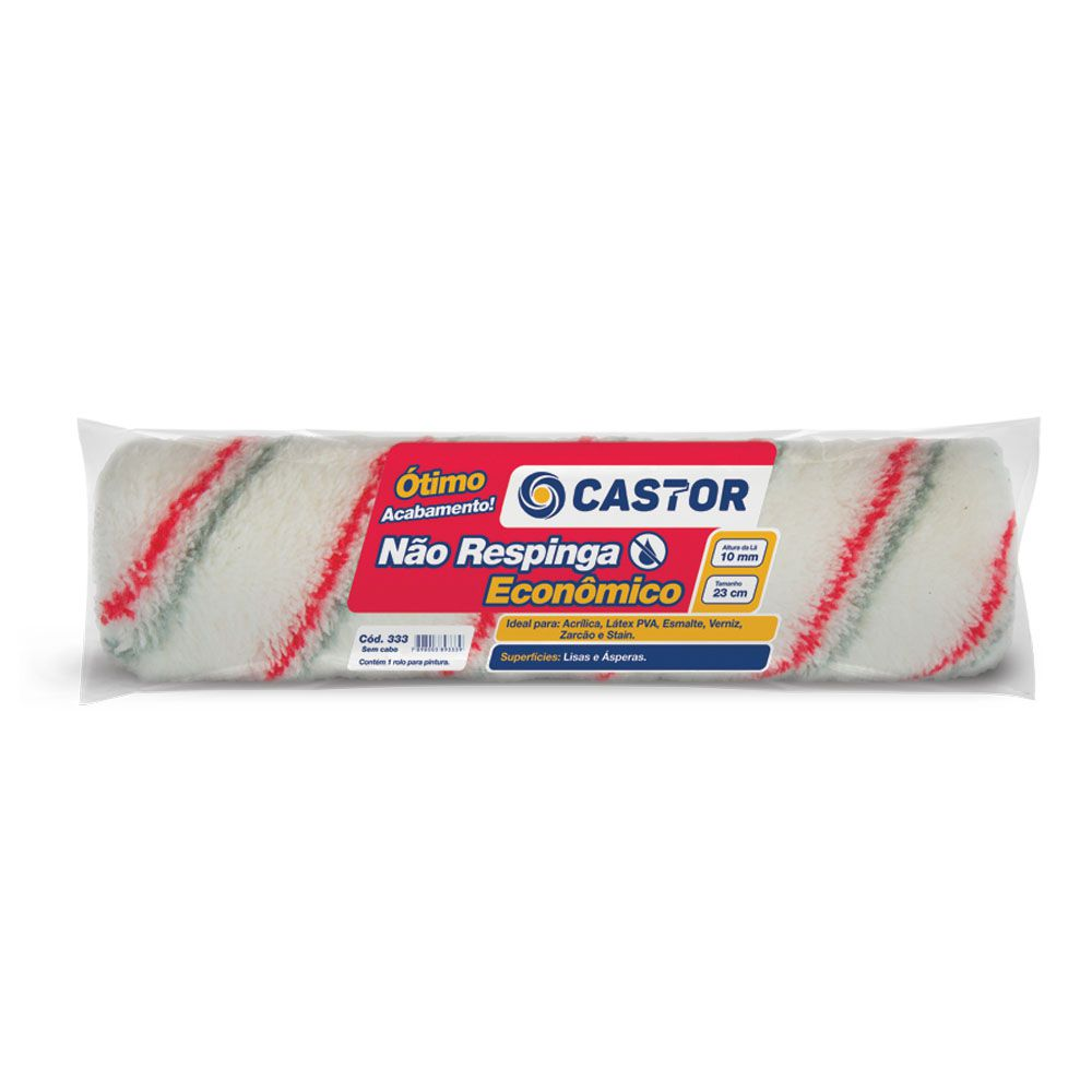 Rolo para pintura Não Respinga Econ 10MMx23CM s/cabo Castor