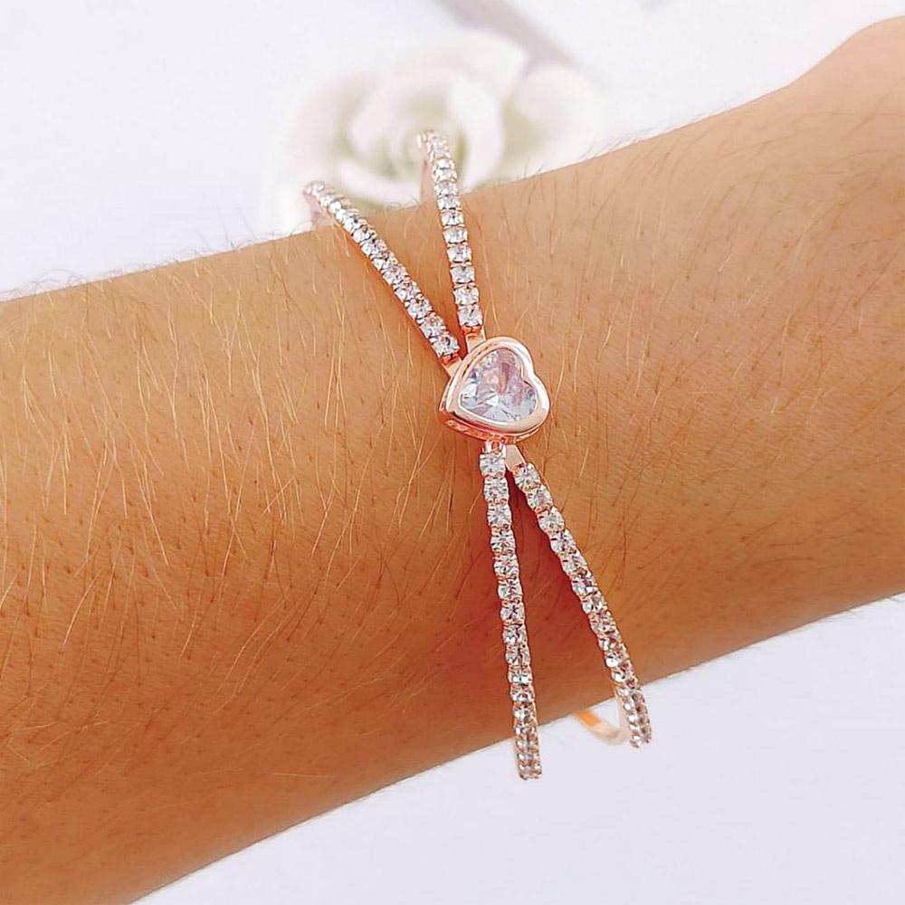 Bracelete de Coração com Strass