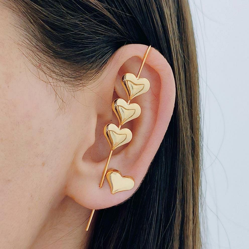 Brinco Ear Cuff de Coração