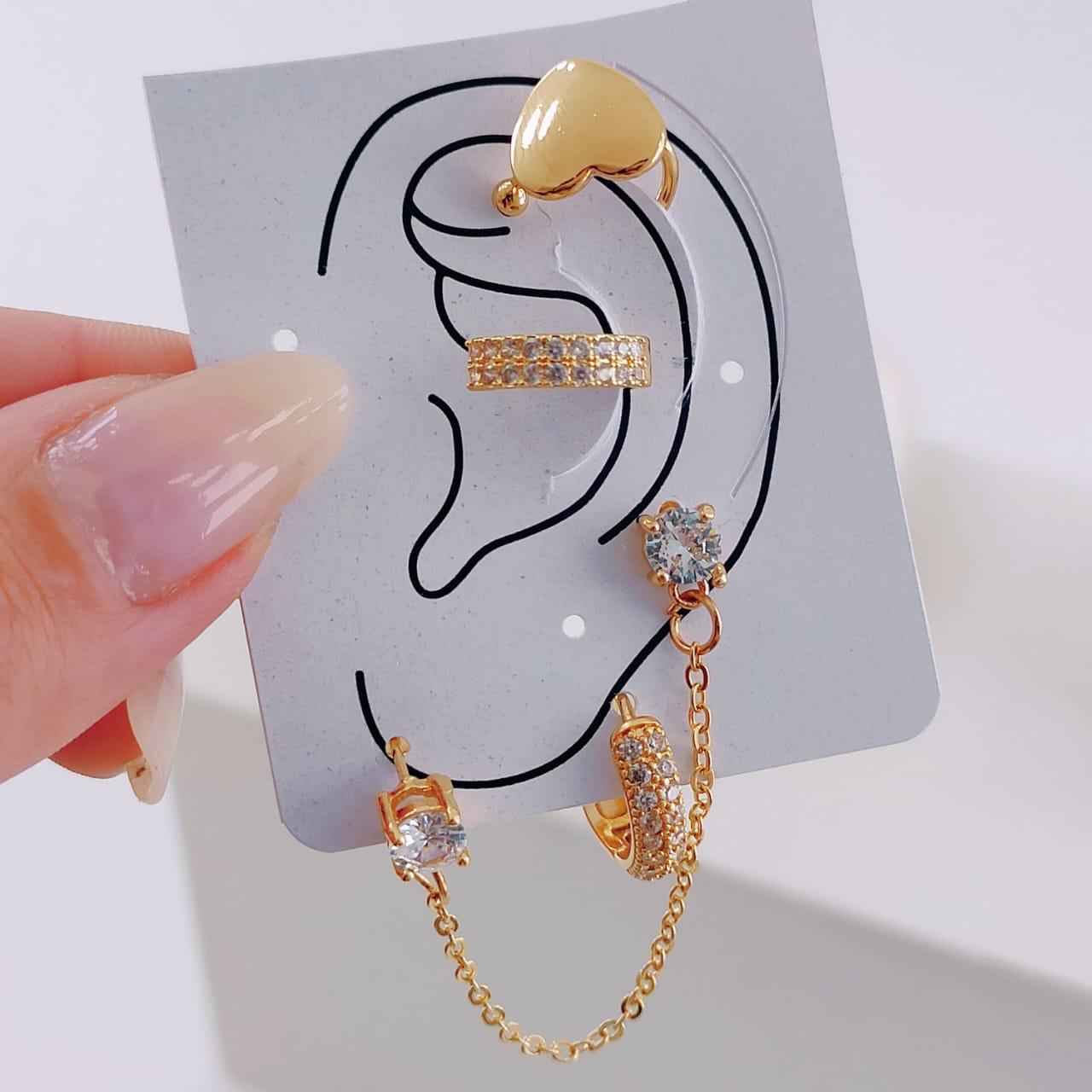 Brinco Ear Line Cravejado