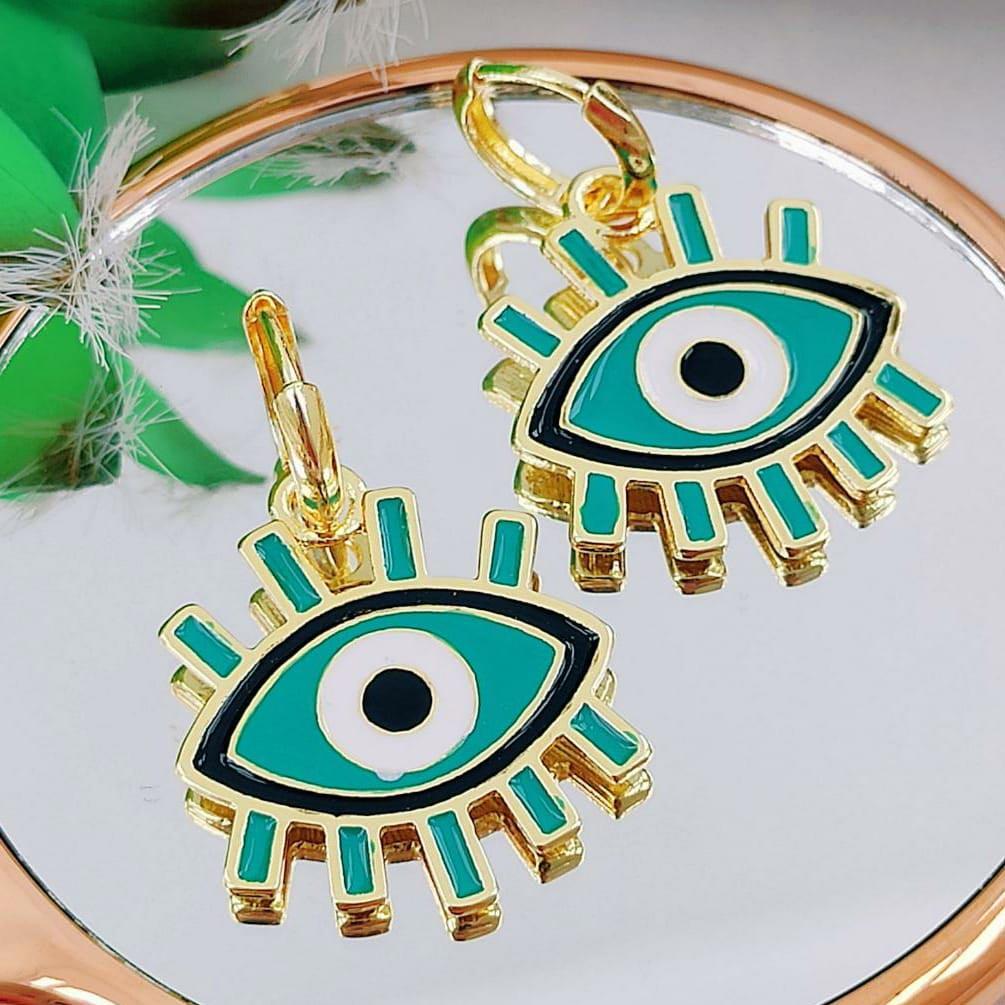 Brincos de Argola com ''Olho Grego''
