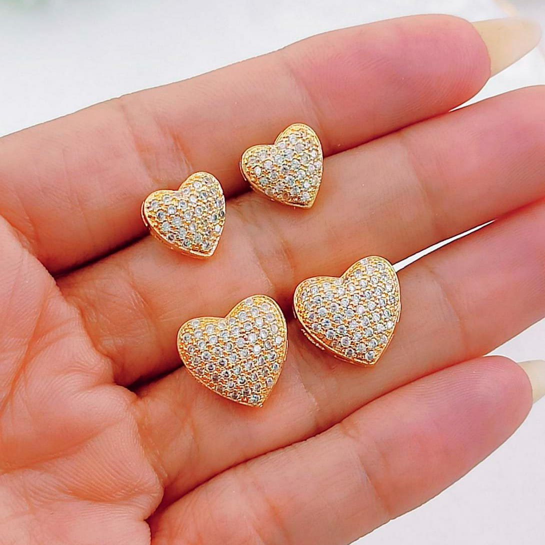 Brincos de Coração com Strass