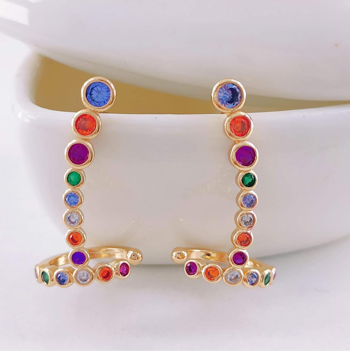 Brincos Ear Cuff Rainbow