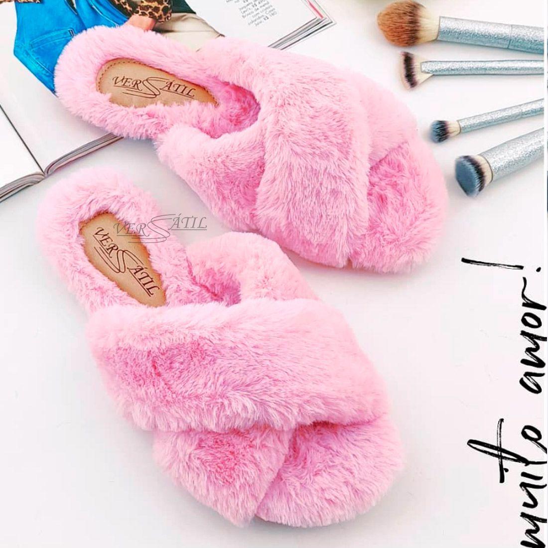 Fuzzy Slides Cruzado - Rosa