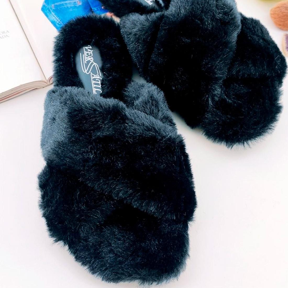 Fuzzy Slides Cruzado - Preto