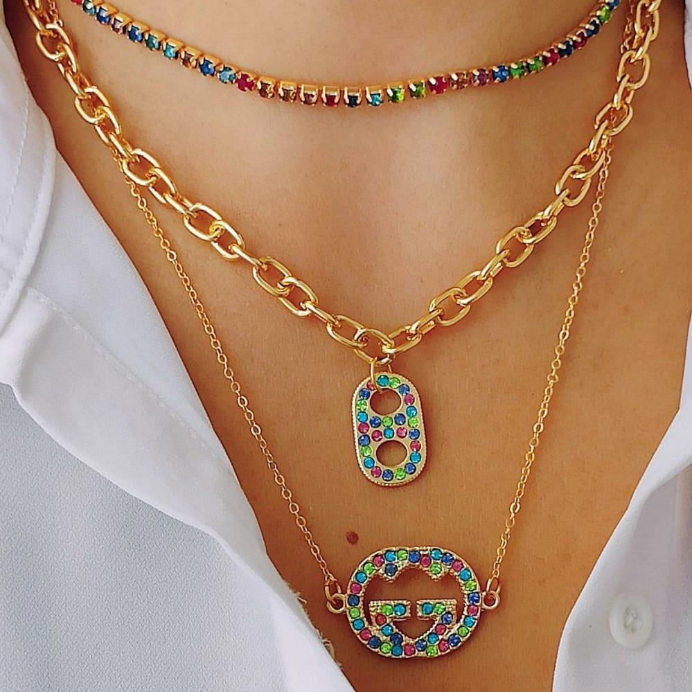 Mix Choker + 2 colares Dourados Com Aplicação de Strass Colorido