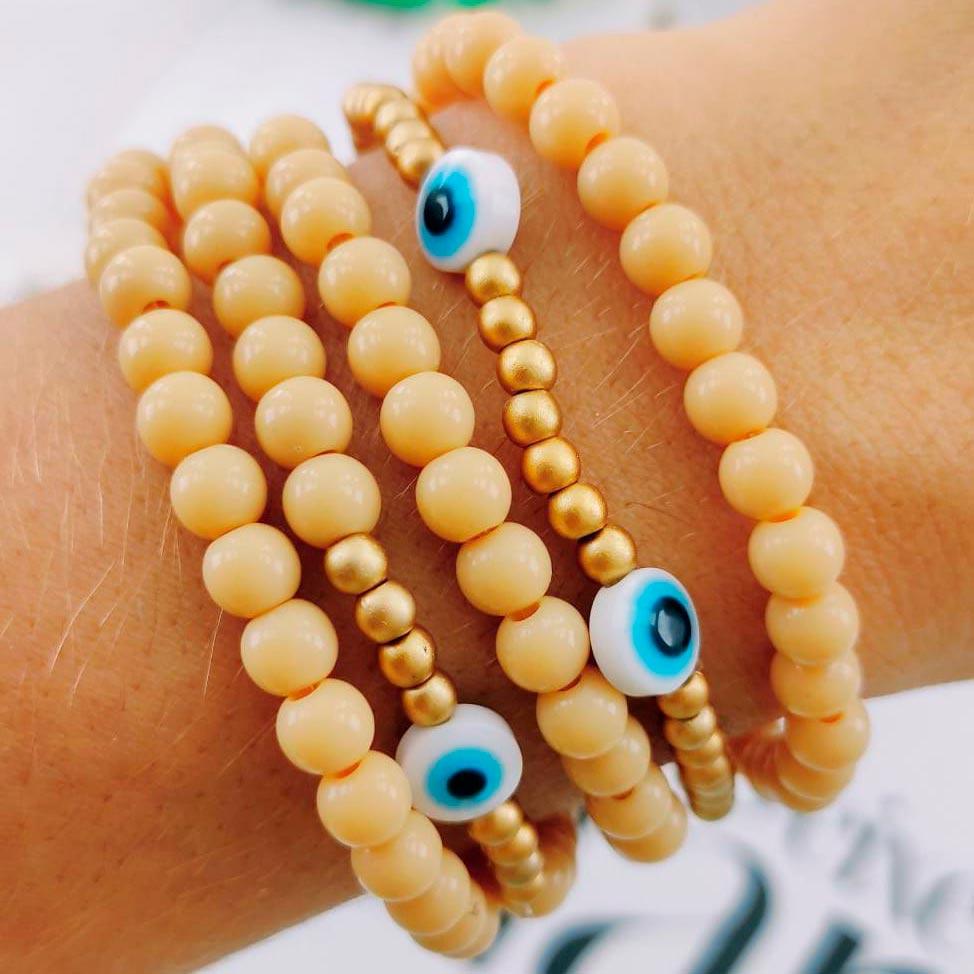 Pulseira Bege de Olhos Gregos