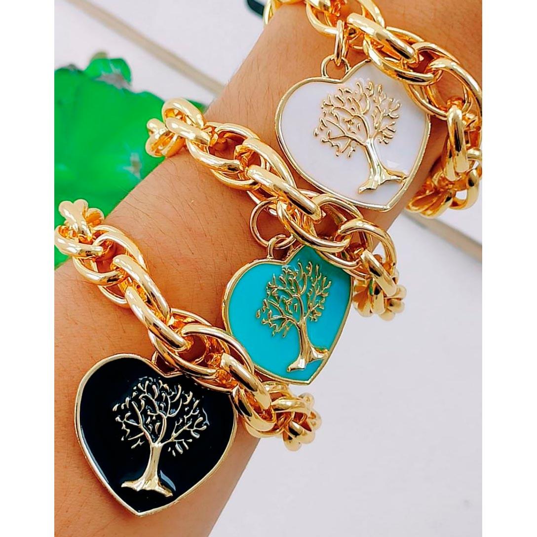 Pulseira ''Coração com Árvore da Vida''