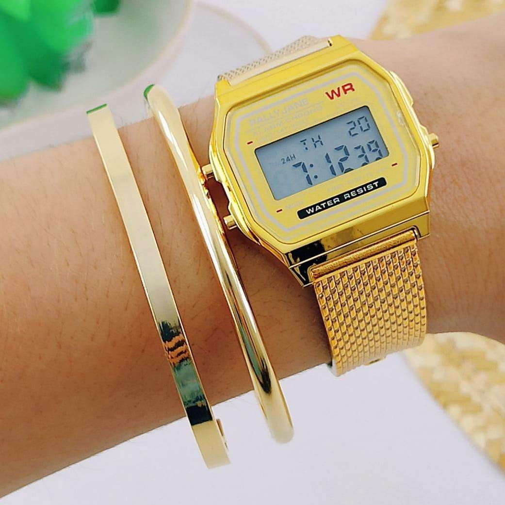 Relógio de Pulso Digital Dourado