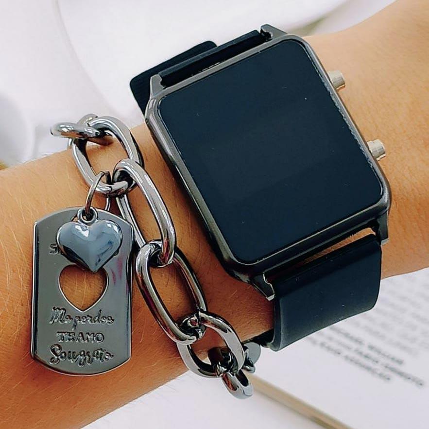 Relógio de Pulso Digital Preto