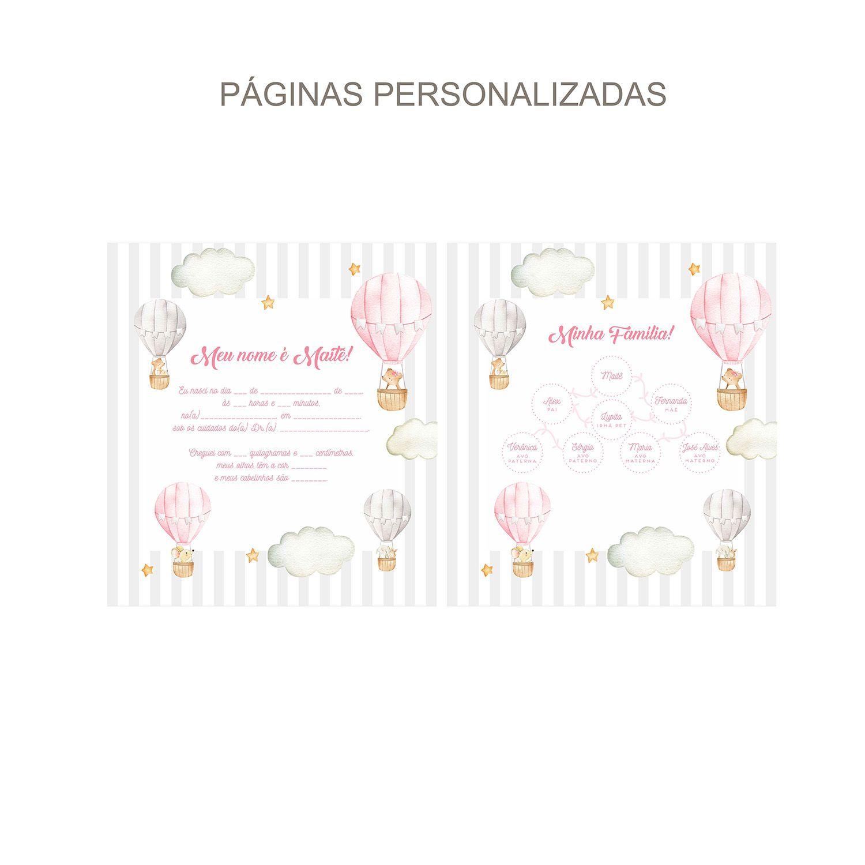Álbum Animais no Balão Aquarelado Rosa