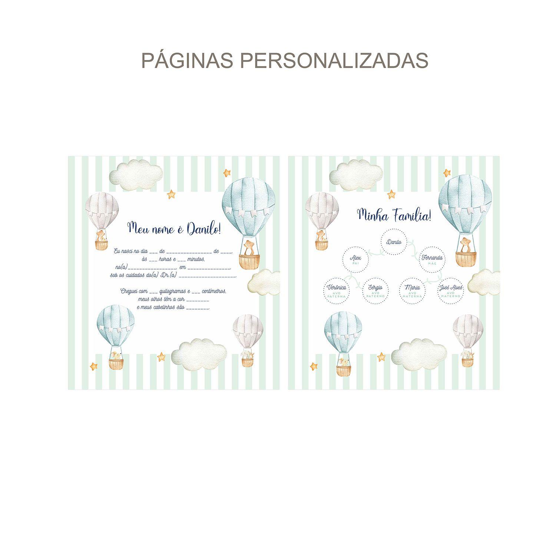 Álbum Animais no Balão Aquarelado Verdinho e Azul
