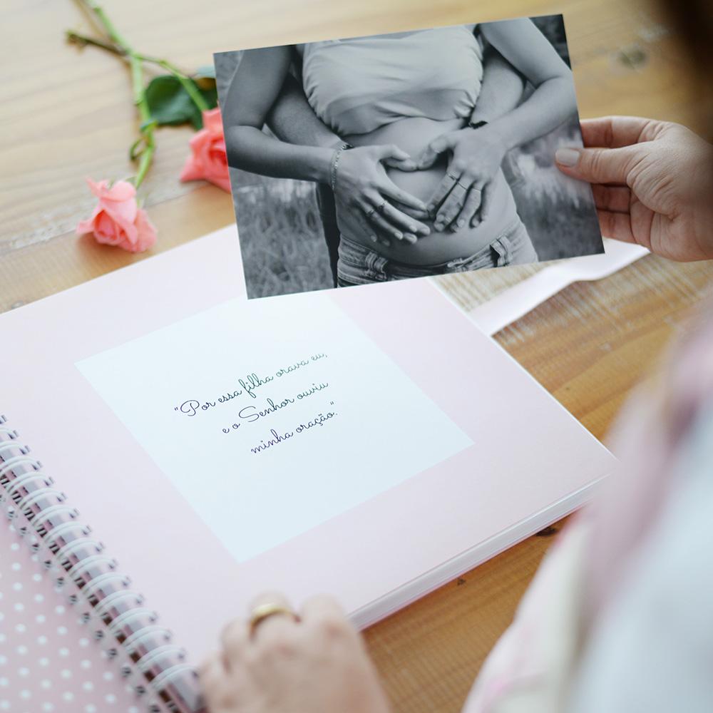 Álbum Gestação Chevron Rosa