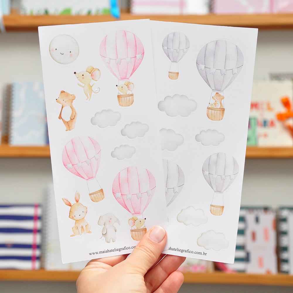 Kit Adesivos Animais no Balão Rosa