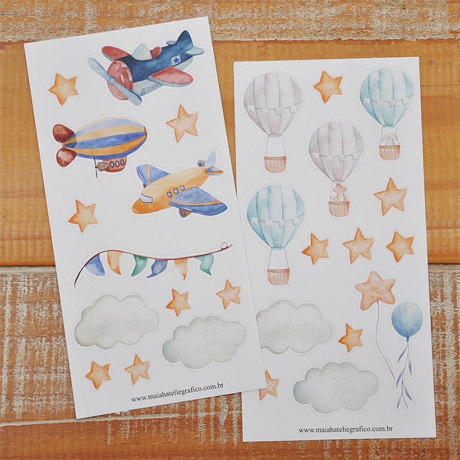 Kit Adesivos Aviões e Balões