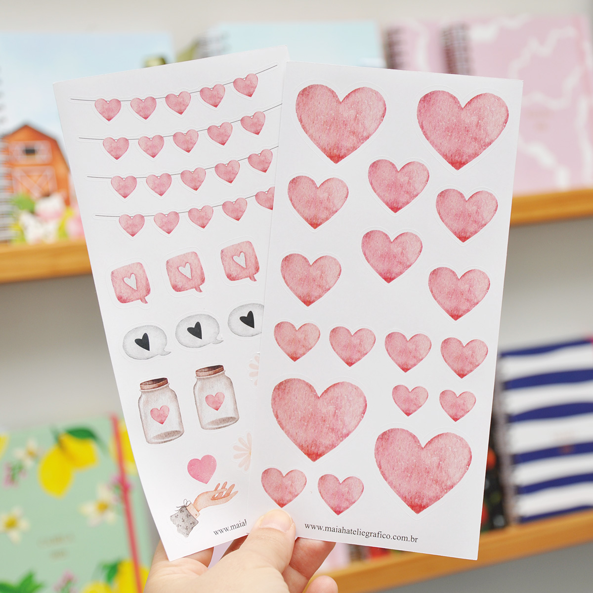Kit Adesivos Corações