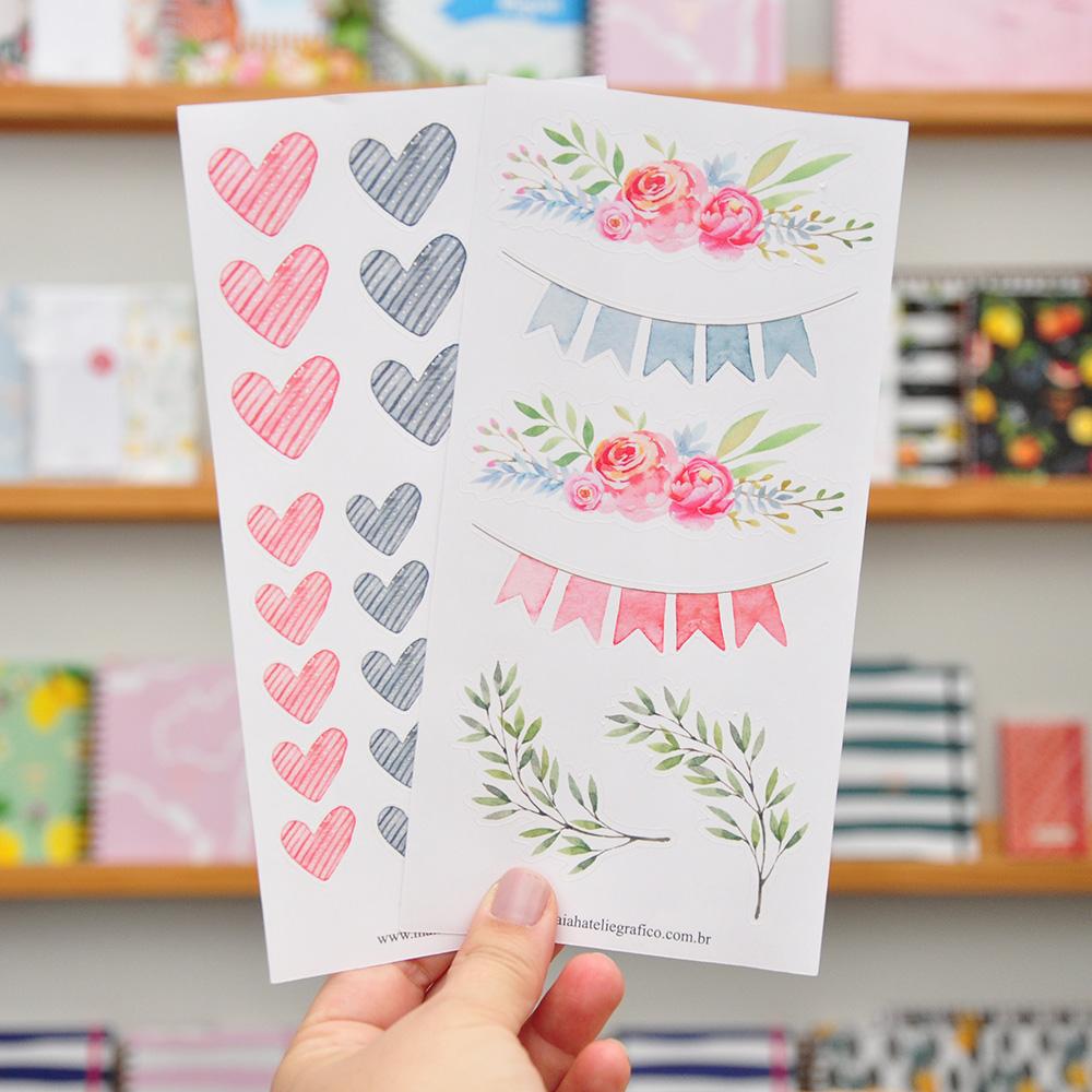 Kit Adesivos Flores e Corações
