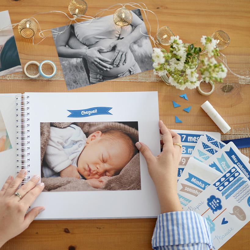 Kit Adesivos Maternidade Azul/ Cinza