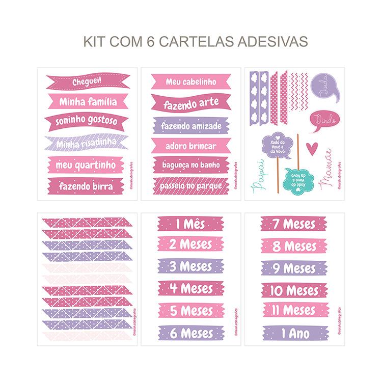 Kit Adesivos Maternidade Rosa/ Lilás