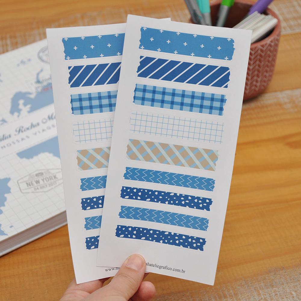 Kit Adesivos Washi Tapes Azuis