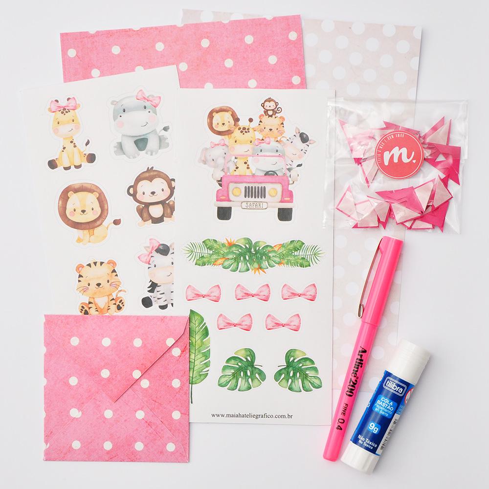 Kit Decorativo Amigos no Jipe  - Rosa