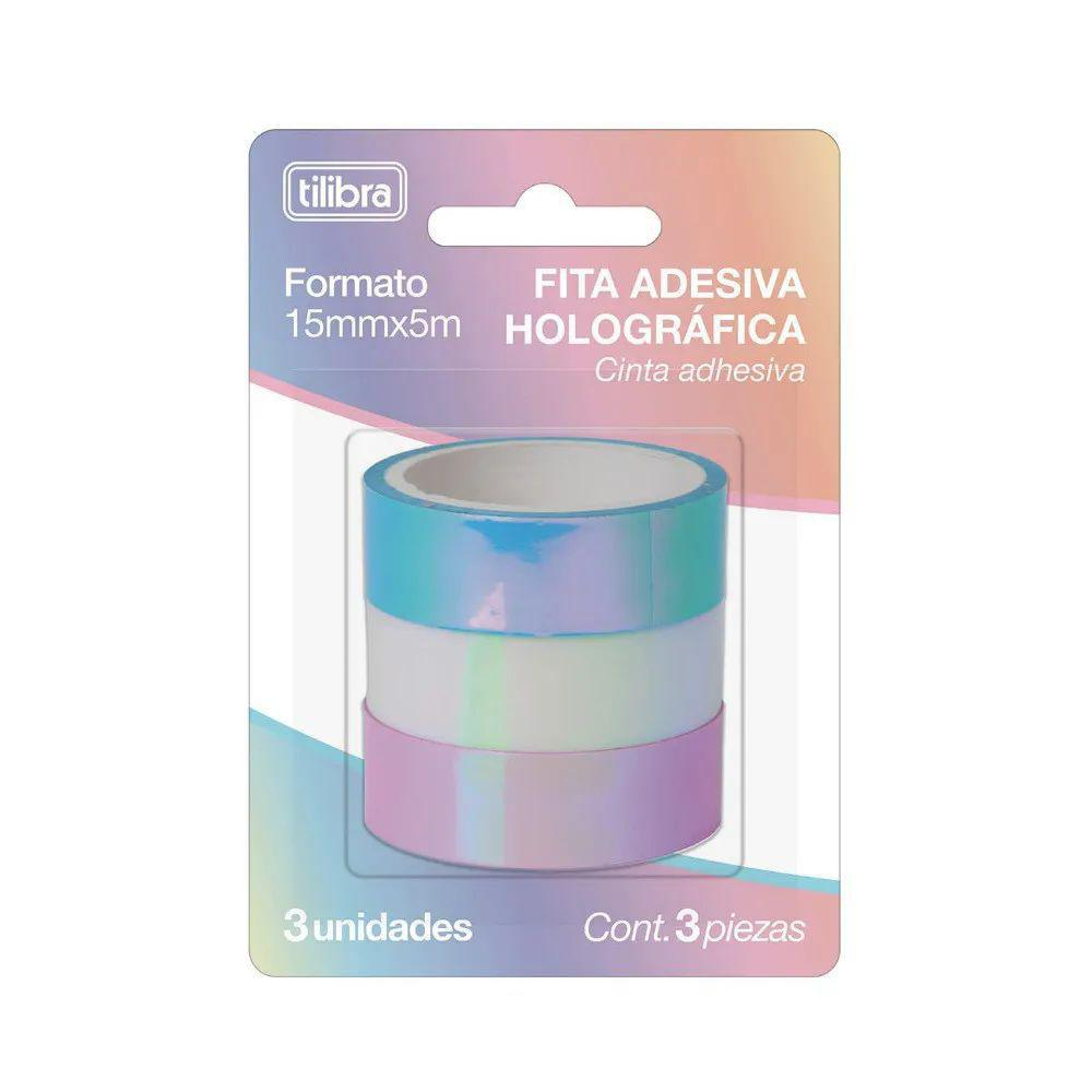Washi tape holográfica 3 cores