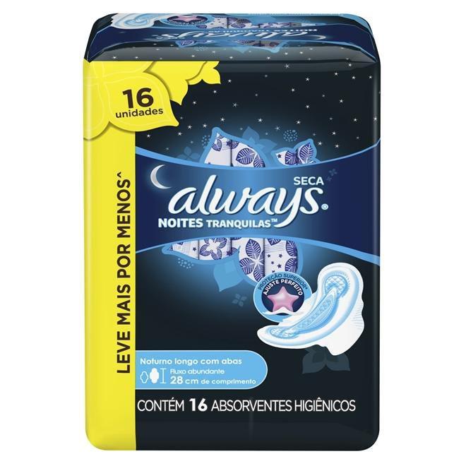 Absorvente Always Noites Tranquilas Cobertura Seca com Abas 28cm Leve 16 Pague 14