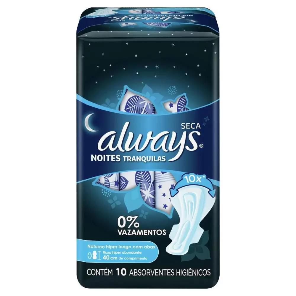 Absorvente Always Noites Tranquilas Seca Com Abas 40cm - 10 unidades