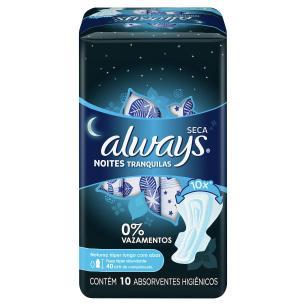 Absorvente Always Noites Tranquilas Seca Com Abas C/ 10 unidades 40cm