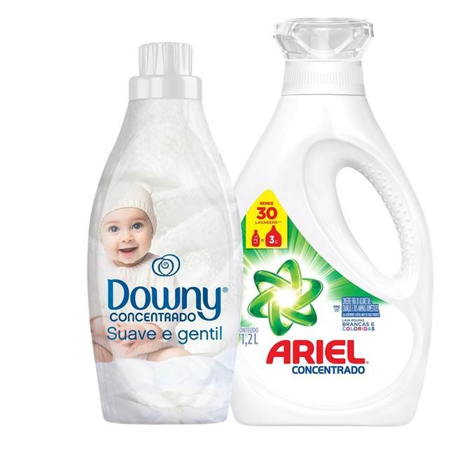 Amaciante Downy 4X Concentrado - Suave e Gentil + Sabão Líquido Ariel 30 Lavagens 1,2L