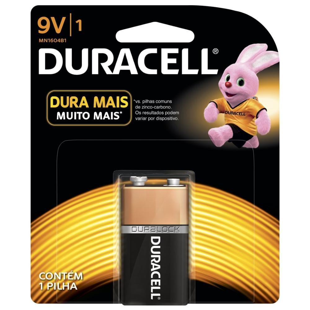 Bateria Duracell Alcalina 9V com 1 Unidade